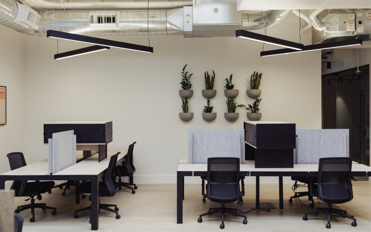 Resident desks at coworking office space in Colorado